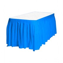 "1 Plain BLUE Plastic table skirt 13' x 29"" adjustable to 19' includes 6 ... - €7,05 EUR"