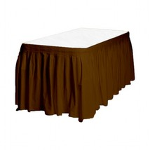 "1 Plain BROWN Plastic table skirt 13' x 29"" adjustable to 19' includes 6... - €7,05 EUR"