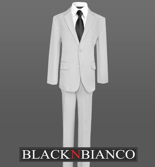 62f71a82c5 Light Grey Boys Suit with a Black Long Neck Tie Formal Wear for Kids of All