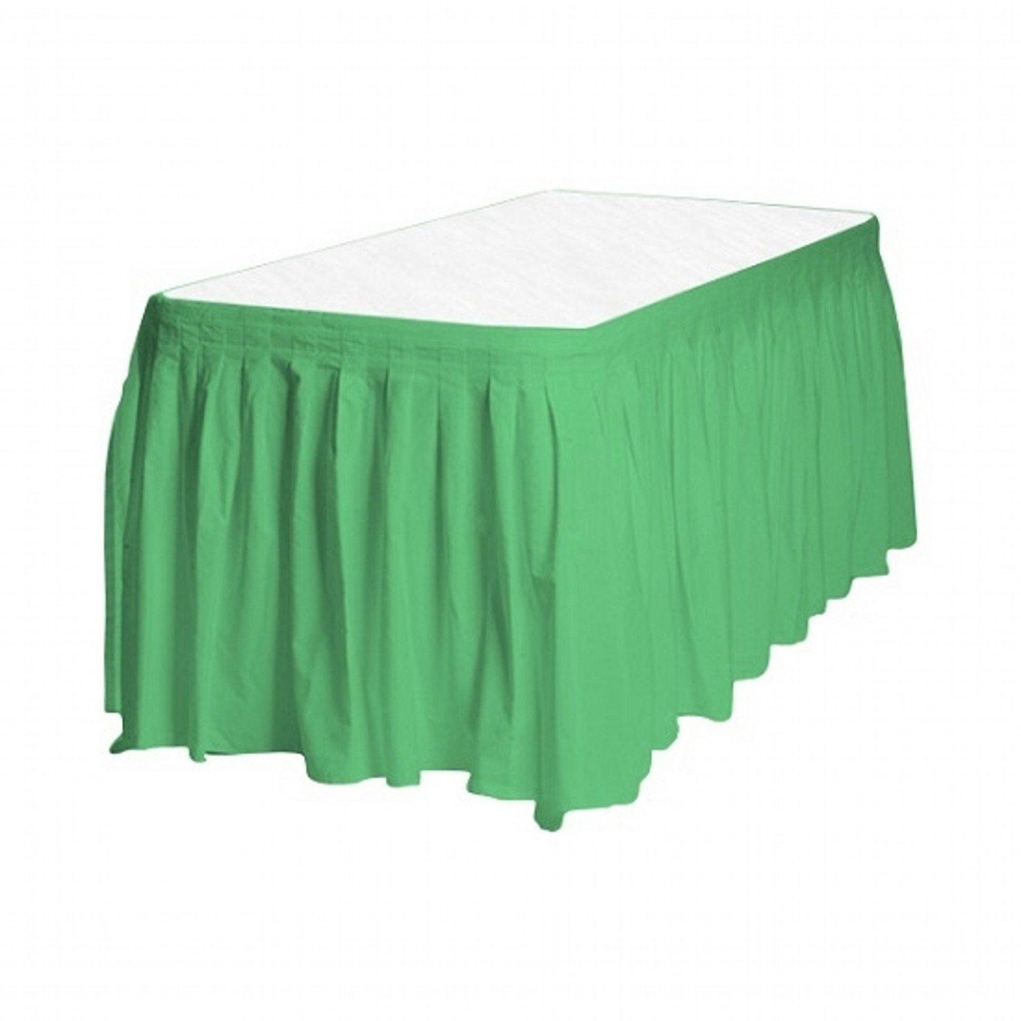 "1 Plain GREEN Plastic table skirt 13' x 29"" adjustable to 19' includes 6 clips"