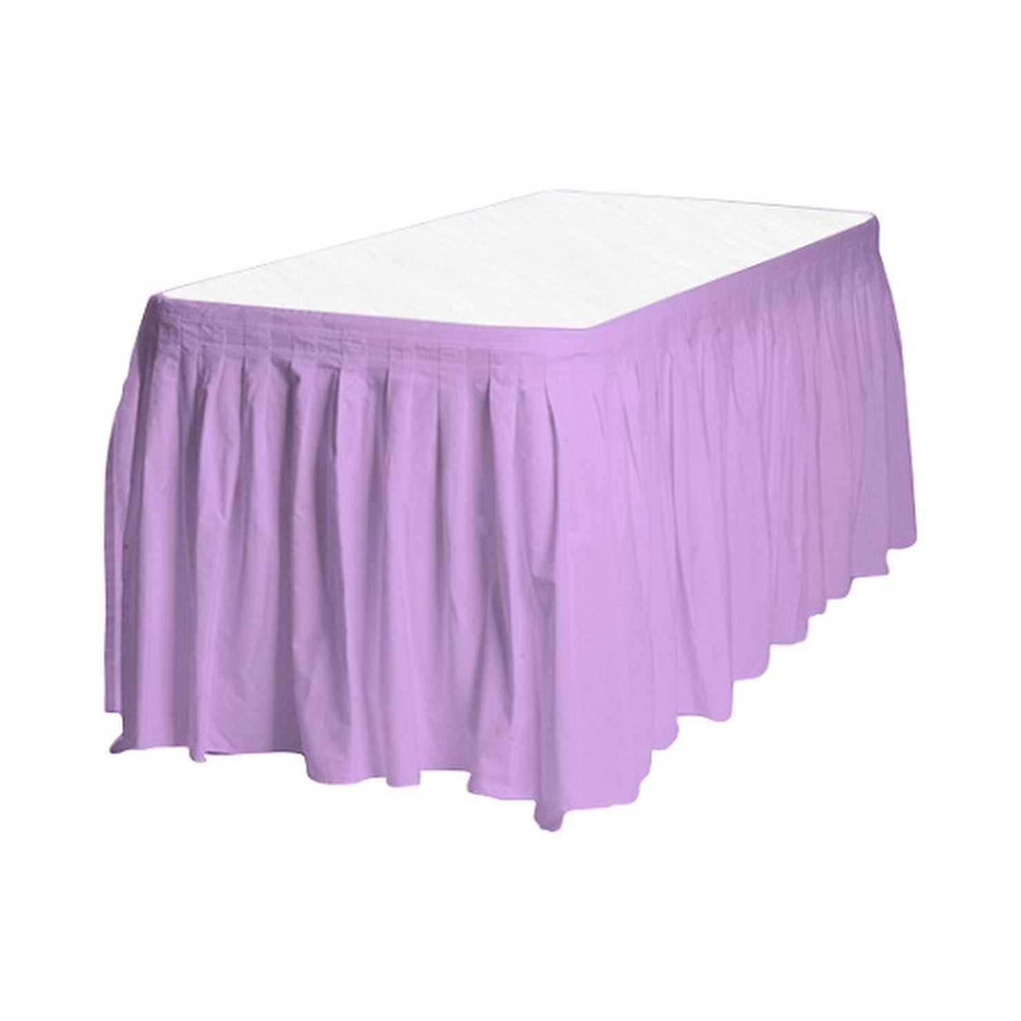 "1 Plain LAVENDER Plastic table skirt 13' x 29"" adjustable to 19' includes 6 clip"
