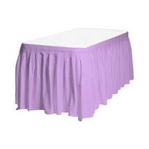 "1 Plain LAVENDER Plastic table skirt 13' x 29"" adjustable to 19' includes 6 clip image 1"