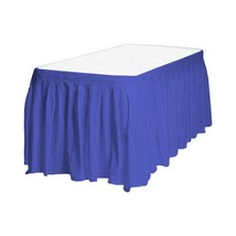 "1 Plain NAVY BLUE Plastic table skirt 13' x 29"" adjustable to 19' includ... - $8.25"
