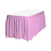 "1 Plain PINK Plastic table skirt 13' x 29"" adjustable to 19' includes 6 ... - $8.25"
