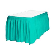 """1 Plain TEAL Plastic table skirt 13' x 29"""" adjustable to 19' includes 6 clips - $8.25"""