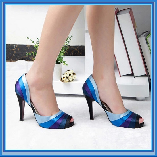 Blue Satin Ribbon Rainbow Classic High Heel Pumps
