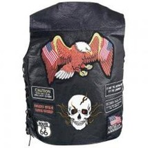 Mens Leather Biker Motorcycle Harley Rider Chopper Vest 23 Patches - $47.69+