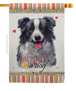 Border Collie Happiness - Impressions Decorative House Flag H110158-BO - $40.97