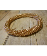 Beaded Bangle Bracelet, Rose Gold; Tubular Spiral Herringbone Stitch - $32.00
