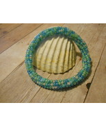 Seabreeze Beaded Bangle, Spiral Tubular Herringbone, No Clasp, Hand Crafted - $32.00