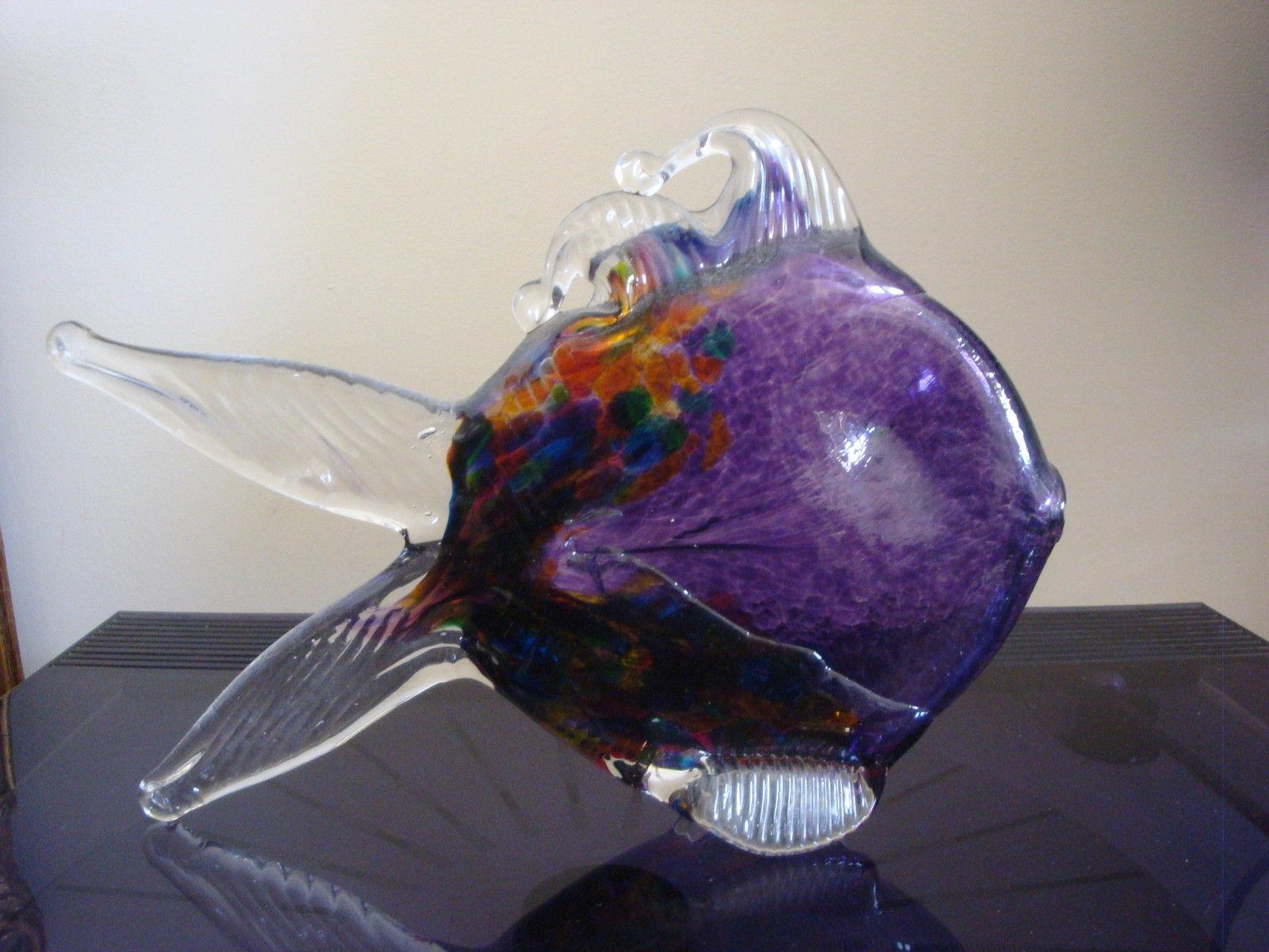 Kitras 8 hand blown art glass fish figurine studio for Blown glass fish