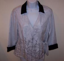 Selene Sport Women's Wrap Blouse Sz 9 Gray/Black 3/4 Sleeve  100% Polyester - $14.99