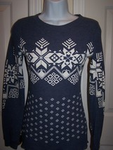 Blu Chic Junior long sleeve knit top blue/white print small polyester cr... - $12.99
