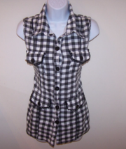 Pretty Girl Juniors Sleeveless Top S Black/White Checkered Button Front ... - $8.95