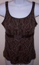 Merona Women's Lace Tank/Cami XS Brown Side Zipper Ribbon Embellishment - $7.95