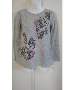 Style & Co Women's Long Sleeve Scoop Neck Floral Light Heather Gray Swea... - $44.67