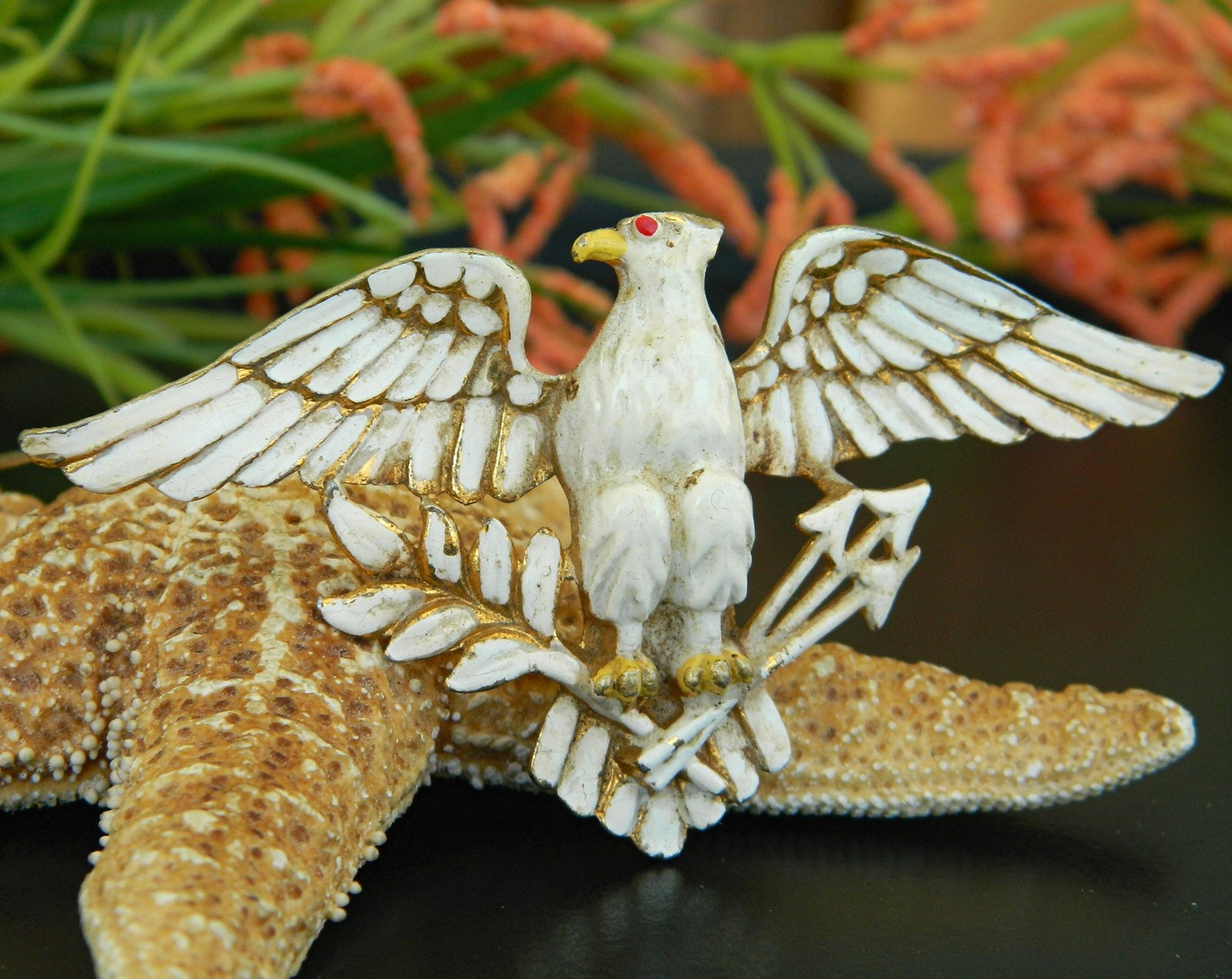 Primary image for Vintage Patriotic American Eagle Brooch Pin Enamel Figural Large