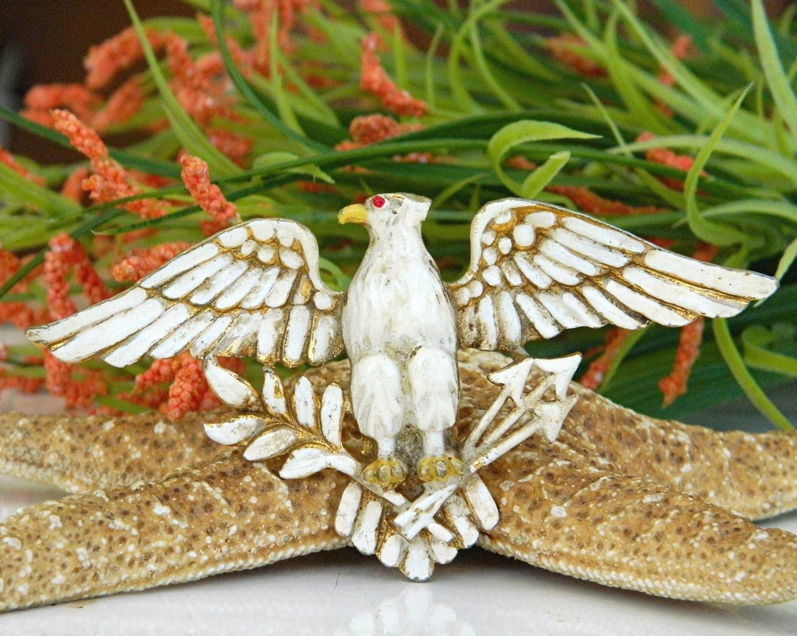 Vintage Patriotic American Eagle Brooch Pin Enamel Figural Large