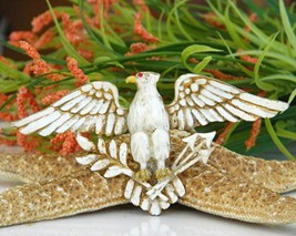 Vintage Patriotic American Eagle Brooch Pin Enamel Figural Large image 6