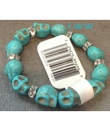Light Blue Skull Turquoise Stone Stretch Skull Bracelet Halloween Gothic - $7.50