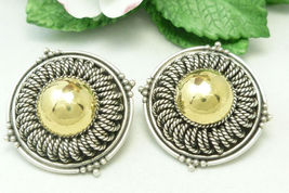 Artisan Crafted Sterling and 18K Earrings Two Tone Rope Design - $79.00