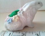 Easter Bunny w Flowers Ceramic Figurine Pin Cushion Easter Decor Sewing Supplies