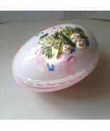 Easter Egg Ceramic Treasure Box Hand Painted Flowers Pink Easter Egg Tri... - $59.99