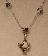 Ceramic Bead & Silver Plated Teapot Necklace - $20.00