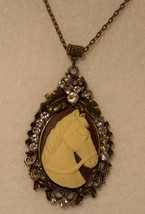 Brown & Ivory Horsehead Cameo Pendant w/Rhinest... - $18.00