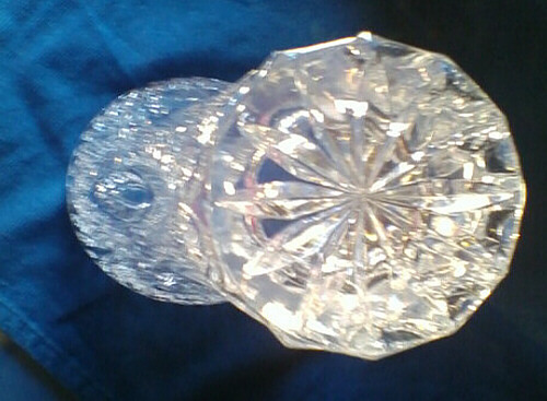 Vinatage Glass Lead Crystal Vase Diamond Cut RARE Sovereign House Crystal Vase