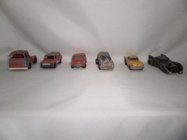 LOT OF 6 VINTAGE ANTIQUE DIECAST METAL TOY CARS INCLUDING 1989 BATMOBILE - $49.99