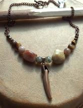 Mother of Pearl Shark Tooth, Jasper, Tiger Eye and Copper Necklace Made ... - $39.99