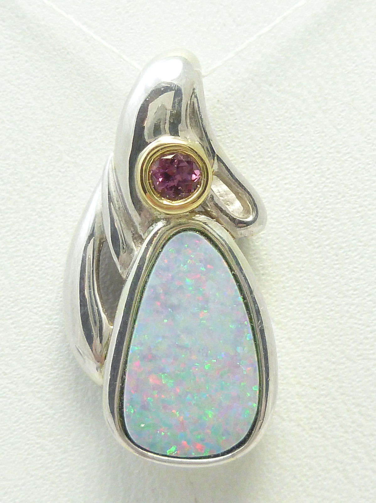 Primary image for Sterling Australian Opal Pendant with Plum Garnet 14K bezel Frame