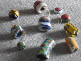 Collectible MILLEFIORI Venetian AFRICAN old glass Trade Beads  various l... - $55.00