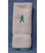 Cancer Awareness Ribbon Crocheted Trim Bathroom Hand Towel Mint Green New - $10.75