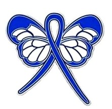 Blue Ribbon Butterfly Pin Awareness Colon Cancer Child Abuse Anti Bullyi... - $16.97