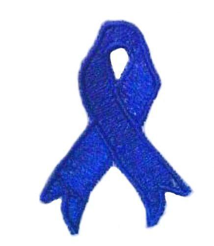 Blue Ribbon Sweatshirt Embroidered White Awareness Cotton Blend Crew Neck M New