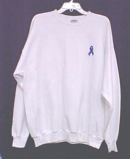 Blue Ribbon Sweatshirt Embroidered White Awareness Cotton Blend Crew Neck S New