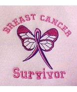Breast Cancer Survivor Ribbon Butterfly Hoodie Pink S Left Chest  New - $31.01