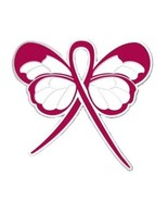 Burgundy Ribbon Butterfly Pin Awareness Lapel Multiple Myeloma Cancer Ca... - $13.97