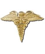 Caduceus Wings Lapel Pin Military Medic Medical Emblem Gold Plate EMT EMS New - $13.69