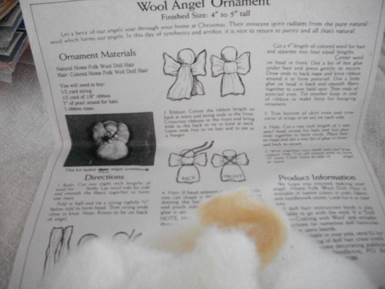Wool Angel Ornament Kit - $6.00