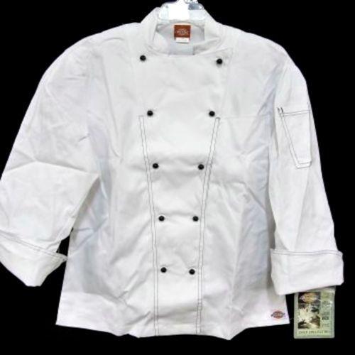 Dickies Executive Chef White Black Coat Jacket Uniform CW070302 34 Unisex New