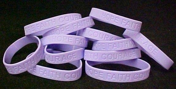 Lavender IMPERFECT Silicone Bracelet 50 pc Lot Jelly General Cancer Awareness