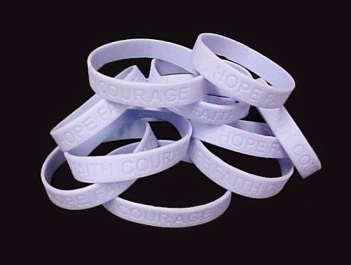 Periwinkle IMPERFECT Bracelets 12 Piece Lot Cancer Cause Silicone Wristband 8""