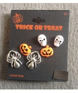 3 pair Skull Spider Jack-o-lantern Pumpkin Halloween Stud Earrings - $6.99