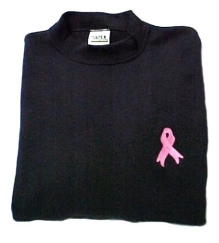 Primary image for Pink Ribbon Black Sweatshirt Embroidered Breast Cancer Awareness Unisex XL New