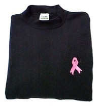 Pink Ribbon Black Sweatshirt Embroidered Breast Cancer Awareness Unisex ... - $22.51