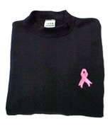 Pink Ribbon Black Sweatshirt Embroidered Breast Cancer Awareness Unisex ... - $22.28