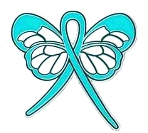 Primary image for Teal Ribbon Butterfly Lapel Pin Cancer Cause Awareness Ovarian Thyroid PTSD New